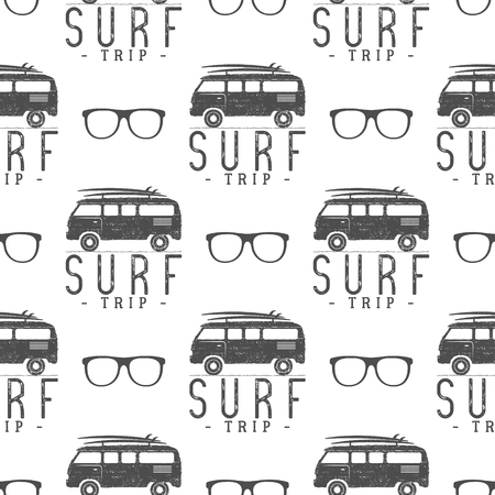 combi: Surfing Seamless pattern with surfing glass. Surfer van, glasses elements. Surfing rv wallpaper printing design. Surfing combi. Summer print, background texture. Surf vacation trip. Silhouette.