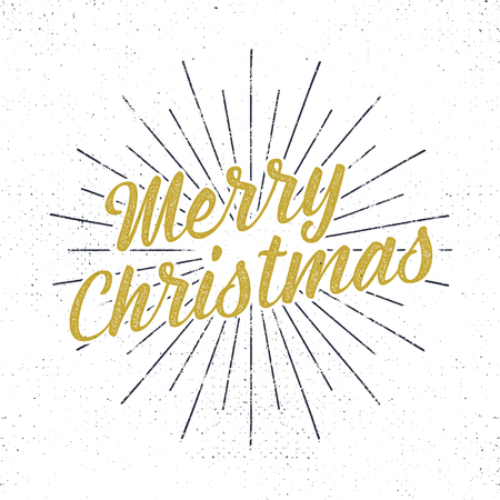 Merry Christmas lettering. Holiday typography Vector Illustration. Letters composition with sun bursts and halftone texture. Use as photo overlay, place to cards, print on t shirt, tee designs etc Illustration