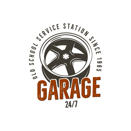 Garage old school service station label. Vintage tee design graphics, complete auto repair typography print. Custom t-shirt stamp, teeshirt graphic. Use as emblem, logo on web. Vector artwork. Illustration