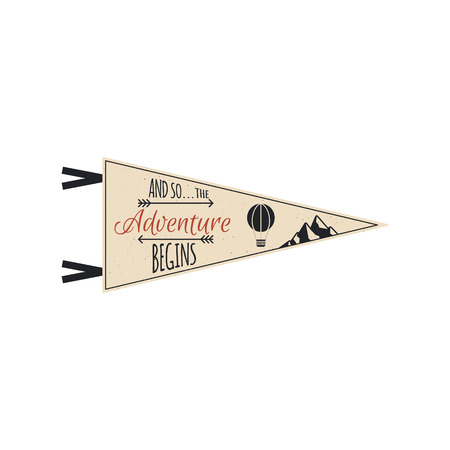 Adventure pennant. Travel pennant design. Explorer flag template. Vintage camping layout. Climbing style pennant with mountains and balloon. Use for web, tee, t-shirt design. Stock Photo