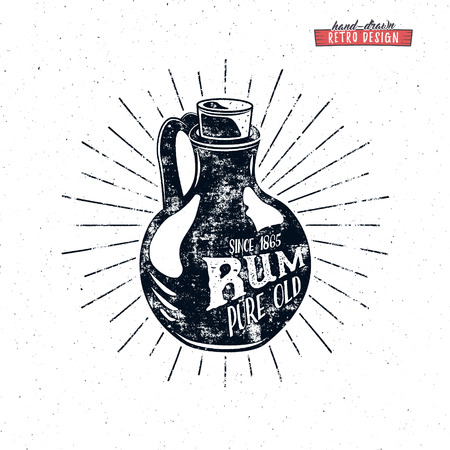 Retro rum bottle label design. Vintage alcohol badge for tee design, printing t-shirt, web projects. With grunge distresed effects and star burst elements. Isolated on white background.