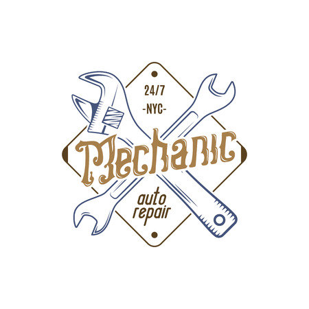 Mechanic repair service label. Illustration of repair service isolated on white. Vintage tee design graphics. Repair service typography badge. Custom t-shirt stamp. Vector repair service insignia