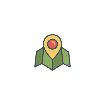 Flat location icon icon with map, pin. Vintage colors vector design. Use on logo templates, infographics and so on. Nice for prints, tee design, apparel. Illustration