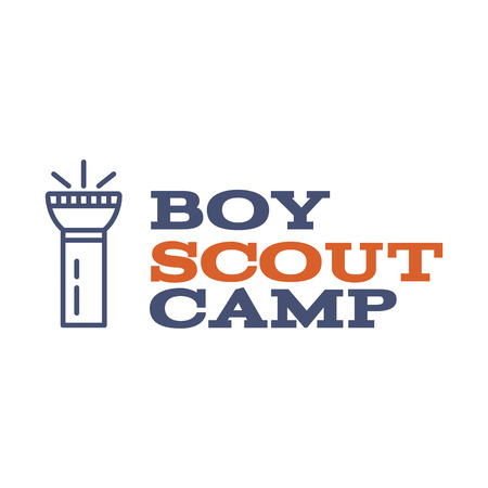 hiking trail: Boy scout camp logo design with typography and travel element - flashlight. Vector text. Hiking trail, backpacking symbols in retro color design. Nice for prints, tee design.