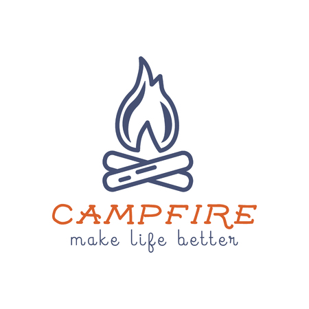 hiking trail: Camping logo design with typography and travel elements - campfire. Vector text - make life better. Hiking trail, backpacking symbols in retro flat colors. Good for prints, tee design, t shirt.