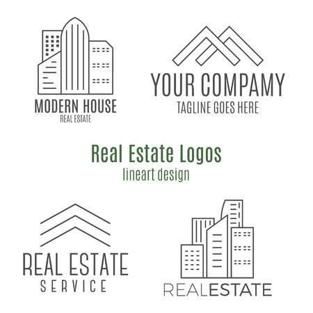 lineart: Set of real estate logo designs in lineart style. Monochrome Stock Photo