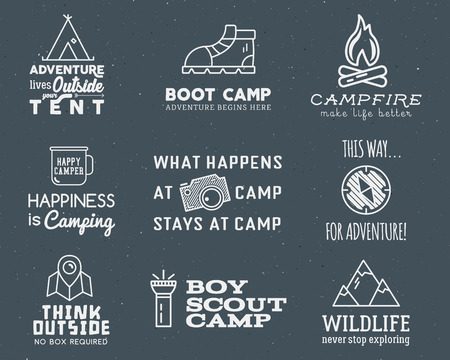 hiking trail: Camping logo design set with typography and travel elements - bonfire, mountain, tent. With vector adventure sayings and signs. Hiking trail, backpacking symbols. Nice for prints, tee design, clothes.