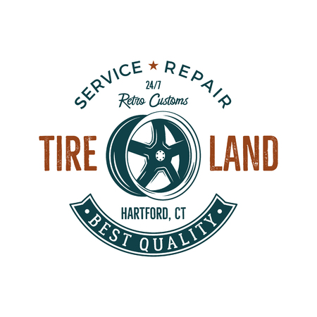 old service station: Vintage label design. Tire service emblem in retro color style with  old wheel and typography elements. Good for tee shirt , prints, car  repair station , badge. Isolated on white.