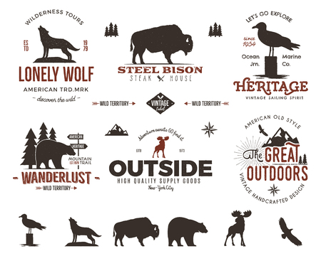 Wild animal badges set and outdoors activity insignias. Retro illustration of animal badges. Typography camping style. Vector animal badges logos with letterpress effect. Custom explorer quotes.Rough