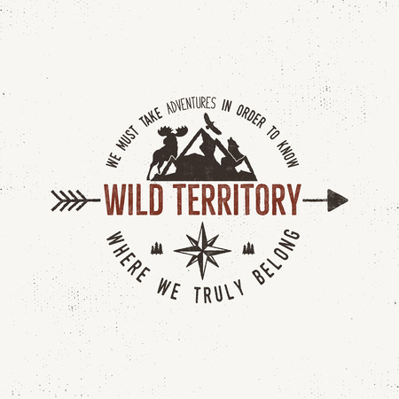 Vintage wild emblem. Retro illustration of wilderness emblem. Typography and rough style. Vector
