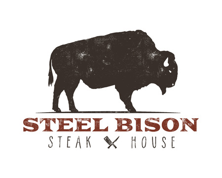 Steak House vintage Label. Steel bison. Typography letterpress design. With sunbursts, isolated on white. Vettoriali