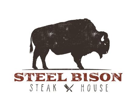 Steak House vintage Label. Steel bison. Typography letterpress design. With sunbursts, isolated on white. Illustration