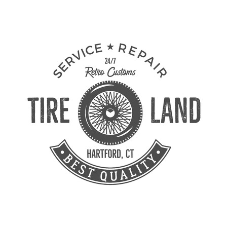 Vintage label design. Tire service emblem in monochrome retro style with old wheel and typography elements. Good for tee shirt design, prints, car service  , repair station label, badge etc.