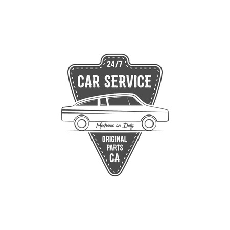 crankshaft: Vintage car service label design. Automotive emblem in monochrome retro car and typography elements. Good for tee shirt design, prints, car service  , repair station label, badge. .
