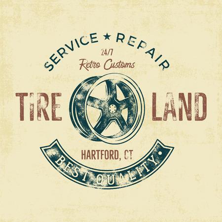 motoring: Garage service vintage tee design graphics, Tire land, repair service typography print. T-shirt stamp, teeshirt graphic, premium retro artwork. Use also as emblem, logo on web projects. .