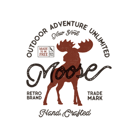Outdoor adventure label. Vintage typography with moose and texts. Retro illustration of outdoor adventure. Vector wilderness logo with letterpress effect. Custom explorer quote.