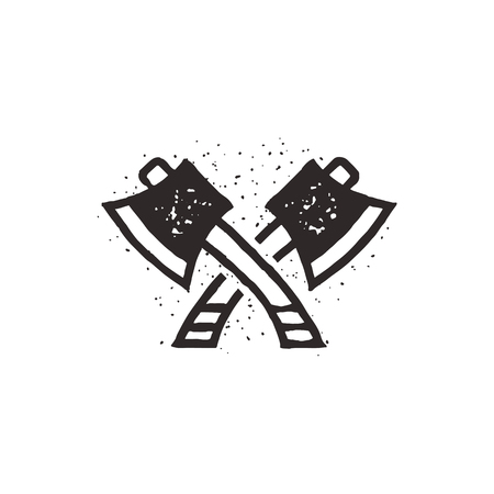 Two crossed axes vector illustration. Silhouette style. Textured lumberjack symbol. Simple design, letterpress effect. Isolated on white background Illustration