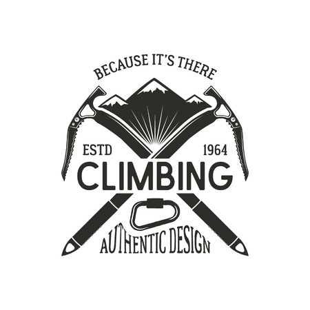 Vintage climbing badge. Climbing logo, vintage vector emblem. Climb gear - carabiner and text. Retro t shirt design. Old style illustration. Climbing insignia. Illustration