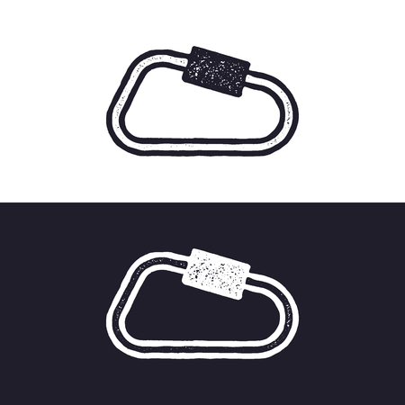 carabiner icon isolated on white background. Letterpress effect. Vector adventure pictogram. Isolated on white and dark backgrounds. Illustration