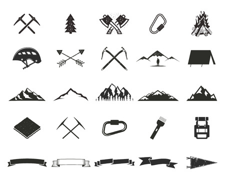 moutain climbing: Mountain expedition silhouett icons set. Climb and camping shapes collection. Simple black pictograms. Use for creating logo, labels and other adventure designs. Vector isolated on white.