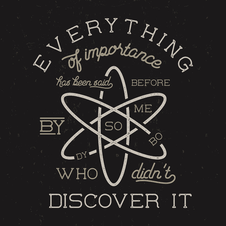 discovered: Vintage science poster and background with Stiglers law of eponymy and atom icon. Science background theme. Retro colors style. Vector illustration of science background isolated on dark.