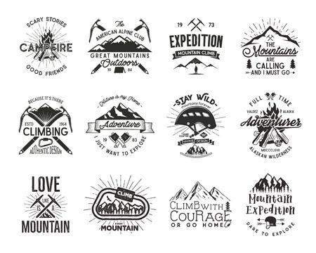 mountaineering: Vintage mountaineering badges. Illustration