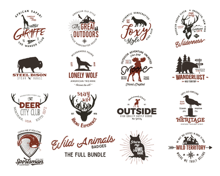 Wild animal badges set and great outdoors activity insignias.