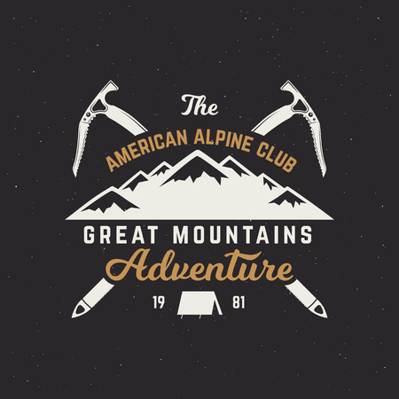 Vintage hand crafted label. Mountain expedition, outdoor adventure badge with climbing symbols and typography design. Vector isolated.