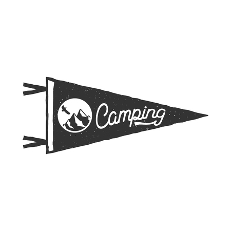 Camping pennant template. Tent and text sign. Monochrome design. Stock vector isolated on white background