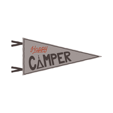 Happy camper pennant template. Tent and text sign. Retro colors design. Stock vector isolated on white background