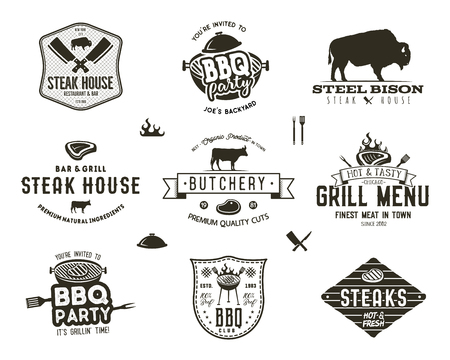 Set of vintage steak house, bbq party, barbecue grill badges, labels. Retro typography hand drawn style. Butcher logo design with letterpress effect.Vector illustration isolated on white background