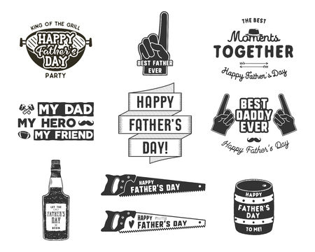Happy Fathers Day Badges and Design Elements Collection Vintage style father day labels. Monochrome typography style. Best for party greetings cards, t shirt, mug, banner, poster Vector illustration Çizim