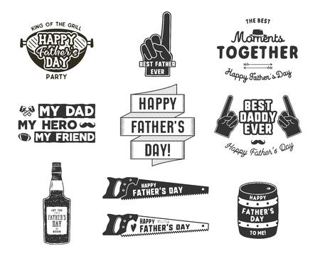 Happy Fathers Day Badges en ontwerpelementen collectie Vintage stijl vaderdag etiketten. Zwart-wit typografie stijl. Beste voor partij groeten kaarten, t-shirt, mok, banner, poster Vector illustratie