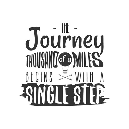 Vintage adventure Hand drawn label design. The of a Thousand Miles Begins with a Single Step sign and outdoor activity symbols - balloon. Monochrome. Isolated on white background. Vector Ilustração