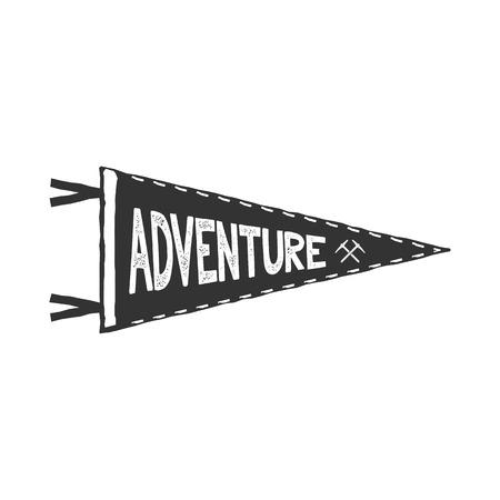白い背景の上の冒険旗竿ベクトル。