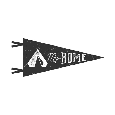 白い背景の上の私のホームの旗竿ベクトル。