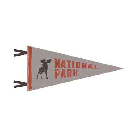 National Park colored flagpole vector Illustration