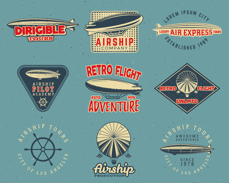 Vintage airship  designs set. Retro Dirigible badges collection. Airplane Label design. Old . Use as fly  , labels, stamps, patches for web , tee , t-shirt. Stok Fotoğraf