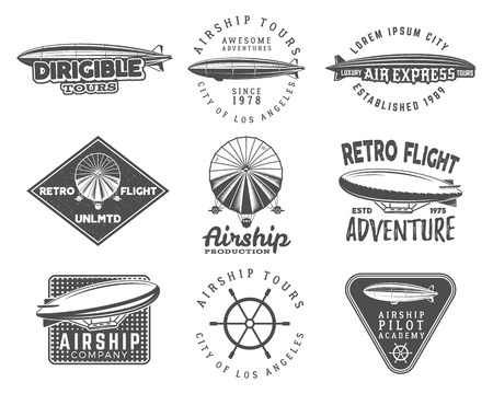 Vintage airship  designs set. Retro Dirigible badges collection. Airplane Label design. Old sketching style. Use as fly logos, labels, stamps, patches for web or tee , t-shirt