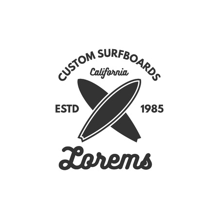 Vintage Surfing tee design. Retro t-shirt Graphics and Emblem for web design or print. Surfer, beach style logo design.