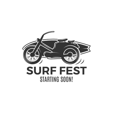 Vintage Surfing tee design. Retro Surf fest tshirt Graphics and Emblem for web design or print. Surfer motorcycle  design. Surf Badge. Surfboard grunge seal, elements, symbols. Monochrome.
