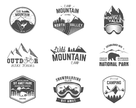 Summer and winter mountain explorer camp badge, logo  label templates set. Travel, hiking, climbing style. Snowboard, ski patches. Bike stamp, campsite sign.