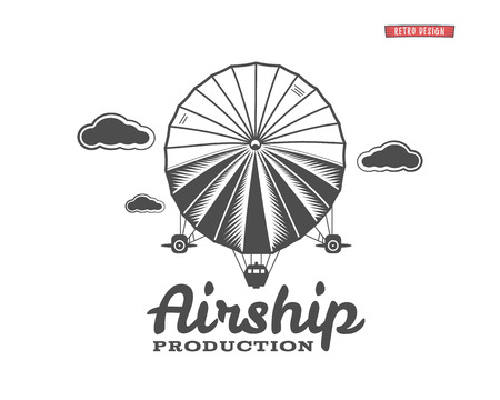 Vintage airship  . Retro Dirigible balloon grunge template. Badge design. Old sketching style. Use as , label, stamp for web or tee , t-shirt print. Fly .Monochrome Stok Fotoğraf