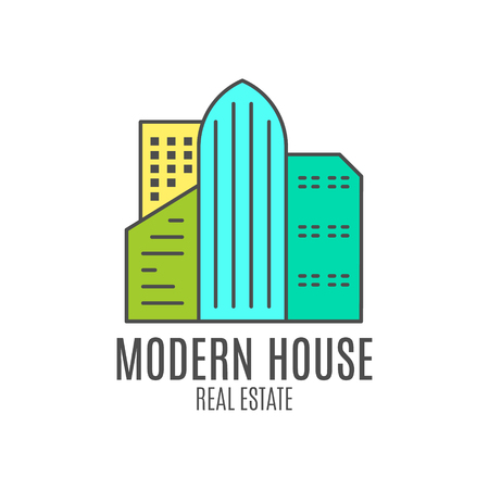 modern house logo design, real estate icon suitable for info graphics, websites and print media. , flat , badge, label, clip art. Lineart style. Thin line . Stylysh palette