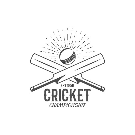 Cricket emblem and design elements. championship  . stamp. Sports fun symbols with equipment - bats, ball. For web , tee or print on t-shirt. Monochrome