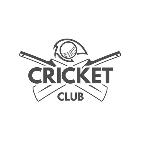 Cricket team emblem and design elements. championship logo . club badge. Sports symbols with gear, equipment. Use for web or tee  print them