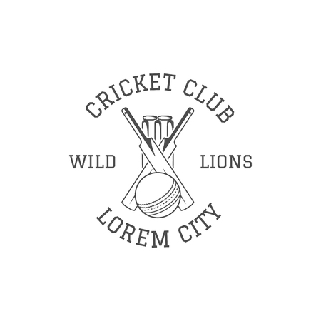 Cricket club emblem and design elements.   . patch. Sports stamp with gear, equipment - bat, ball. Use for web , tee or print on t-shirt. Monochrome