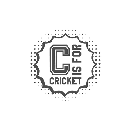 Cricket monogram emblem and design elements.    pop art style. club badge. Sports sticker. Monochrome dotted background. Use for web or tee , print on t-shirt.