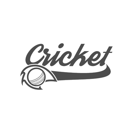 Cricket club emblem and design elements. team logo . tournament badge. Sports symbols with gear, equipment. Use for web , tee or print on t-shirt. Monochrome design template 向量圖像
