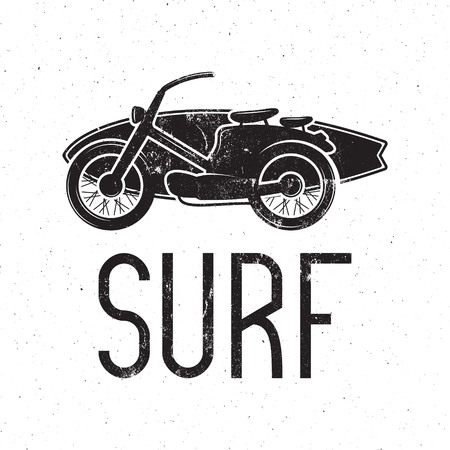 Vintage Surfing tee design. Retro Surf fest t-shirt Graphics and Emblem for web design or print. Surfer motorcycle  design. Hipster Badge. Surfboard seal. Monochrome.